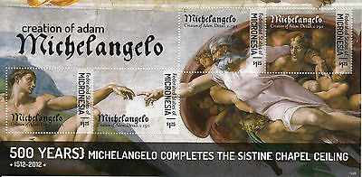 Micronesia 2012 MNH Michelangelo Sistine Chapel Ceiling 4v M/S Art Stamps
