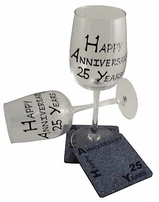 25th Wedding Anniversary Wine Glass and Coaster Gift Set Blk/Sil