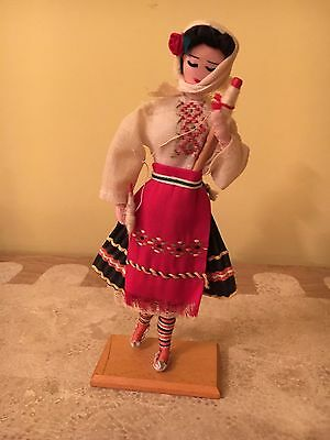 Vintage Doll Made In Bulgaria In Traditional Bulgarian Clothes