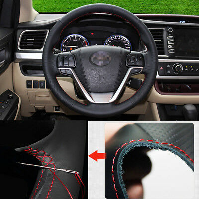 For Toyota  Highlander 2015 Steering Wheel Cover Non-slip Hand Sewing Leather