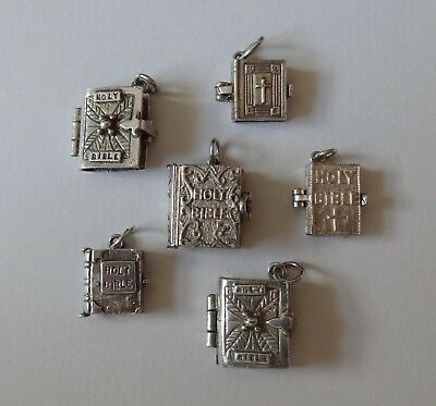 VINTAGE SILVER CHARMS ASSORTED BIBLES inc NUVO