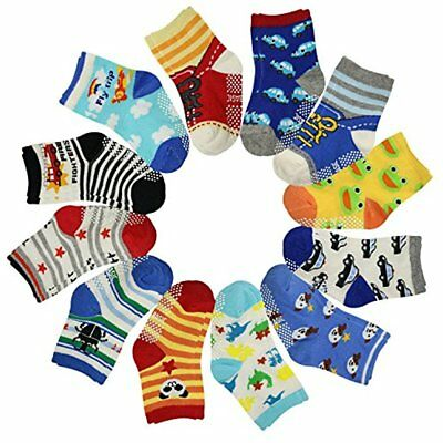 Socks 12 Pairs Anti Slip Baby Kids Ankle Toddler Non-skid Soft Cotton Assorted
