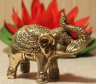Thai Amult Brass Statue Elephant Trunk Up Get Success Wealth Luck Home Decor