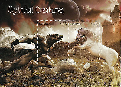 Liberia 2014 MNH Mythical Creatures Werewolf Unicorn 2v S/S I Stamps