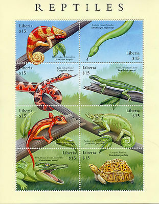 Liberia 2002 MNH Reptiles 8v M/S Snakes Lizards Crocodiles Turtles Stamps