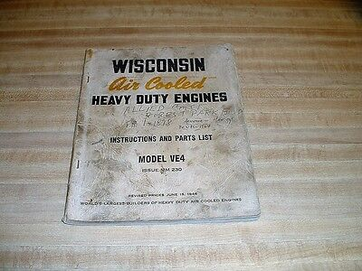 Wisconsin Model VE4 Instructions And Parts List Manual