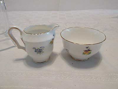 Crown Staffordshire CREAMER & Open SUGAR BOWL Rose Pansy & Forget-Me-Not Gold Tr