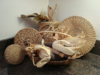 Vintage 1950s Collection of Five Native American Handwoven Sweet Grass Baskets