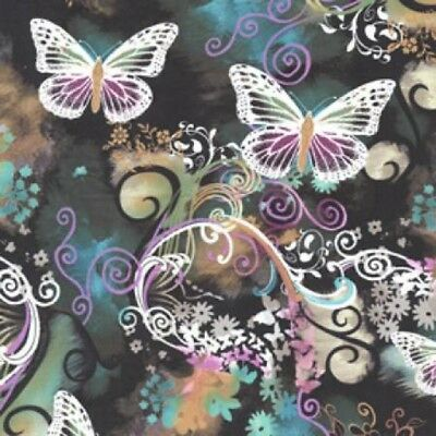 Butterfly Filigree Flutter Multi Michael Miller Cotton Quilting Fabric 1/2 YARD
