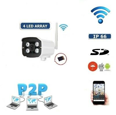 Telecamera Ip Camera Wireless Sensore Registra Microsd Dvr Wifi 4 Led Array Cam