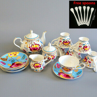 Fine Bone China Pottery Porcelain Elegant Ceramic 21pcs Coffee Tea Pot Cup Set G