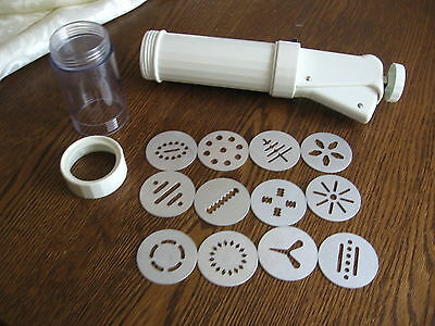 Long Cookie Press Shooter With Storage Container Tube 12 Discs UK Design 1036404