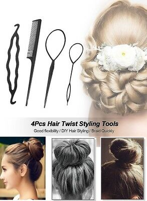 4 Pcs Set Styling Clip Bun Maker Hair Twist Braid Ponytail Tool Accessories NEW