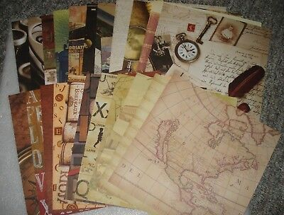 NEW Lot of 22 ct  scrapbooking paper 12x12 Vintage style crafting cardmaking