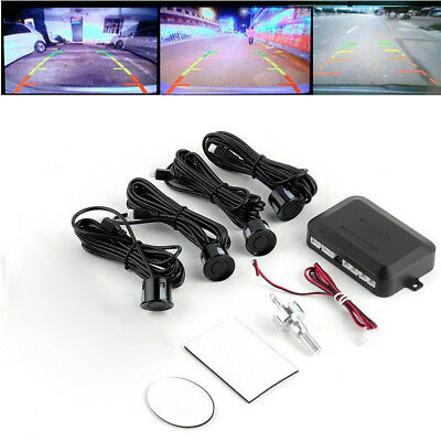 Parking 4 Sensor Car Front Rear Reversing Backup Radar Buzzer Alarm System Black