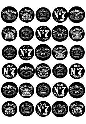 30 x Jack Daniels Mini Cupcake Edible Wafer Cake Toppers