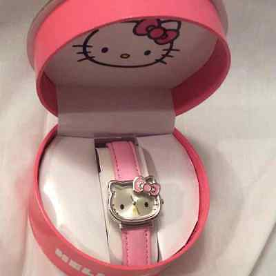 HELLO KITTY SILVER DIAL WATCH w/pink bow