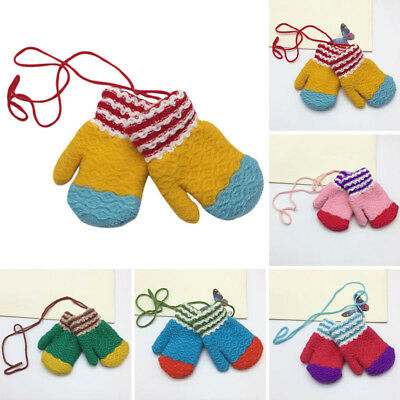 Newly Kids Gloves Winter Candy Color Cosy Mitten Wearable Neck Strap Child Glove