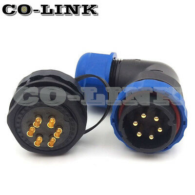Sd28 6Pin Waterproof Ip67 Heavy Connector 90° Right Angle Industrial Plug Socket