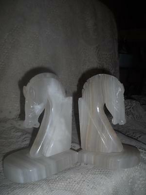 2 Vntg Ornate Hand-Carved Italian Alabaster Marble Art Deco Horse Head Book Ends