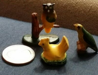 Vintage figurines of an OWL, CHICKEN AND BIRD