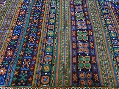 Vintage Hand Woven Kashmir Silk Floor Rug Or Throw Tribal Motif Design