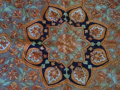 Vintage Hand Woven Kashmir Silk Floor Rug Or Throw Arabic Rosette