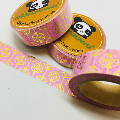 Washi Tape Gold Foil Geometric On Pink 15Mm X 10Mtr Scrap Plan Craft Wrap