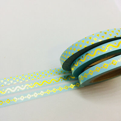 Washi Tape Skinny Gold Foil Diamonds Triangles 3 Roll Set Each 5Mm X 10Mt Mint