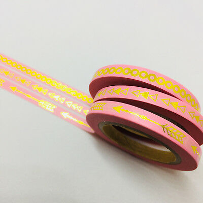 Washi Tape Skinny Gold Foil Arrows Chain 3 Roll Set Each 5Mm X 10Mtr Pink