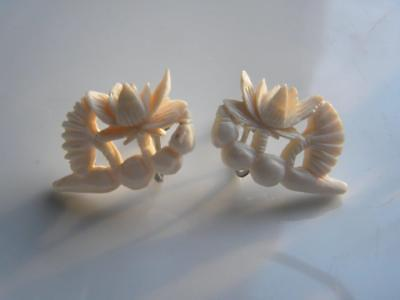 Pair of ANTIQUE Victorian Brass or Silver Filigree Pearl Earrings