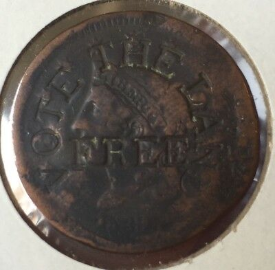 1839 Large Cent Rare Counter Stamp Vote The Land Free Hard Times Token