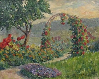 VintageFrench Oil Painting, Brécy Garden Summer landscape Flowers, Signed, 1934