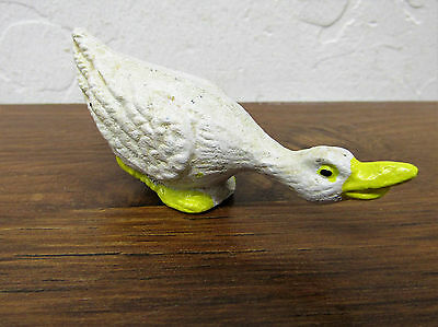 "Fun Tiny Miniature Rustic Primitive 1 3/4"" Tall Cast Iron Goose Duck Swan Toy"