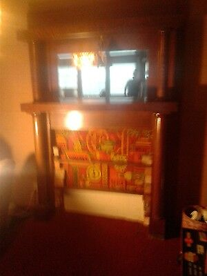Rare tiger wood antique fireplace surround mantel with beveled mirror