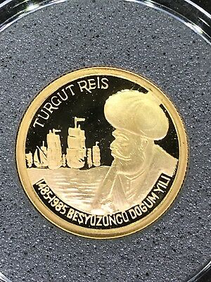 Türkei 50000 Lira 1985 Gold (Proof) Turkey 500th Birthday of Turgut Reis Selten