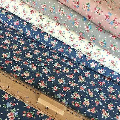 RETRO FLORAL by Fabric Freedom quilting craft cotton Vintage blue rose grey