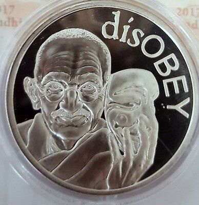 disOBEY Gandhi by Silver Shield, Micro Mintage 1 oz Silver Round With COA