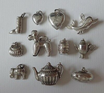 VINTAGE SILVER ASSORTED PUFFY CHARMS, KETTLE, SNAIL, PARROT, RADIO, SHOE, etc