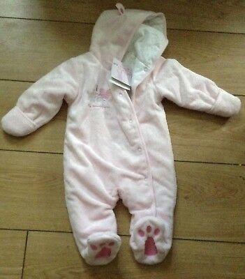 BNWT Babies r us Pink Fleece Snowsuit All In One 3 - 6 months