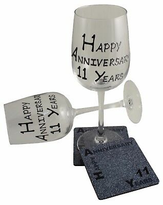 11th Wedding Anniversary Wine Glass and Coaster Gift Set Blk/Sil
