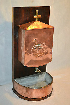 Antique Vtg French Copper Brass Church Lavabo water fall Swan Indoor Garden