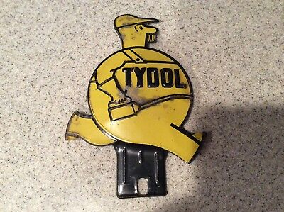 VIntage Yellow Tydol Oil Can Man Tag Topper License Plate Topper