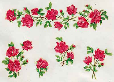 5 Strips Shabby Chic Vintage Roses Upcycle Furniture Resoration Decals Transfers