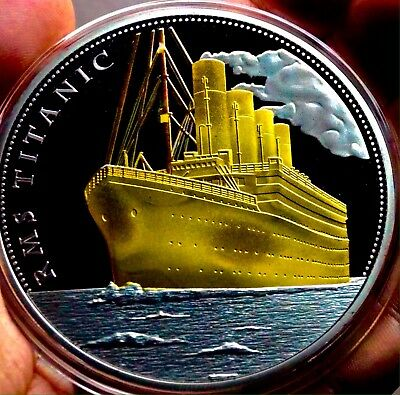 Super Large Silver And Gold Plated Titanic Coin
