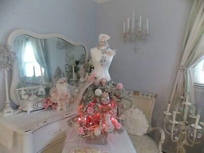New Shabby Marie Antoinette Dress Form Pink Lighted Christmas Tree W/ Ornaments