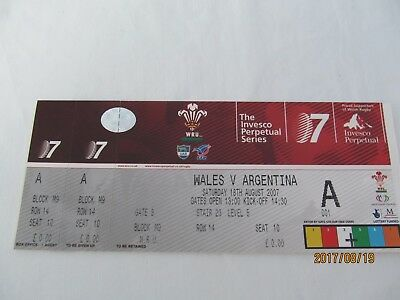 Wales v Argentina. 2007. Rugby Union. Event Tickets.