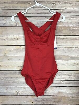 NEW $38 Motionwear Adult Pinch Front Cross Back Banded Red Size L Leotard SA20