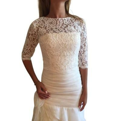 Romantic and Elegant 3/4 sleeve lace bridal cover up