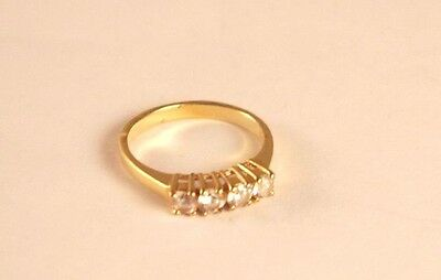 Vintage Gold Tone Four White Crystals Band Ring Size 7
